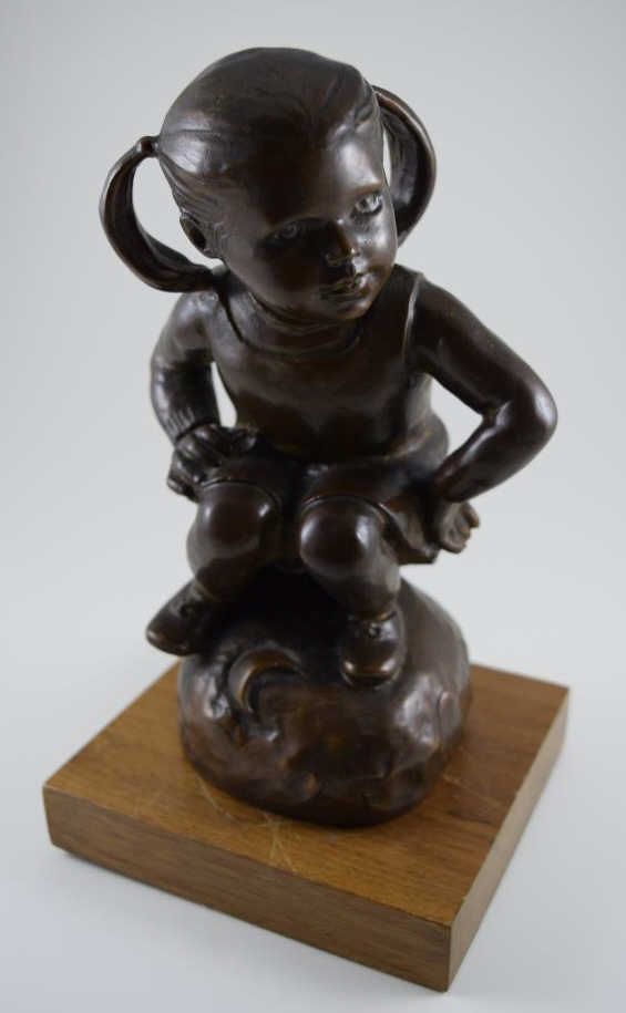 M ROSSE BRONZE FIGURE OF GIRL WITH PIGTAILS
