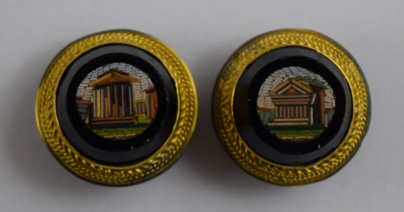 ANTIQUE PIETRA DURA MICRO MOSAIC BUTTONS OR CUFFS