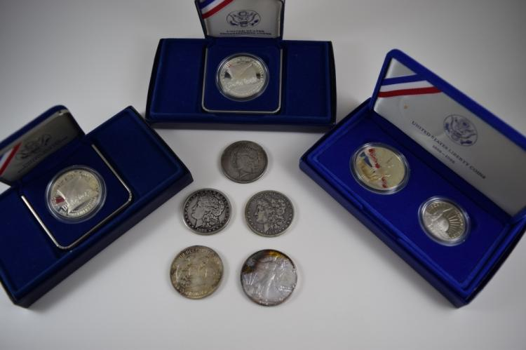 8 U.S. SILVER COINS MORGAN AND LIBERTY DOLLARS +