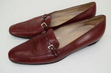 PAIR CHANEL RED LEATHER SHOES 37-1/2