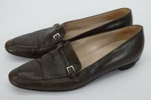 PAIR CHANEL BROWN LEATHER SHOES 38