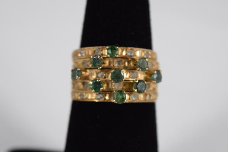 EGYPTIAN 18K GOLD EMERALD RAW DIAMOND STACK RINGS