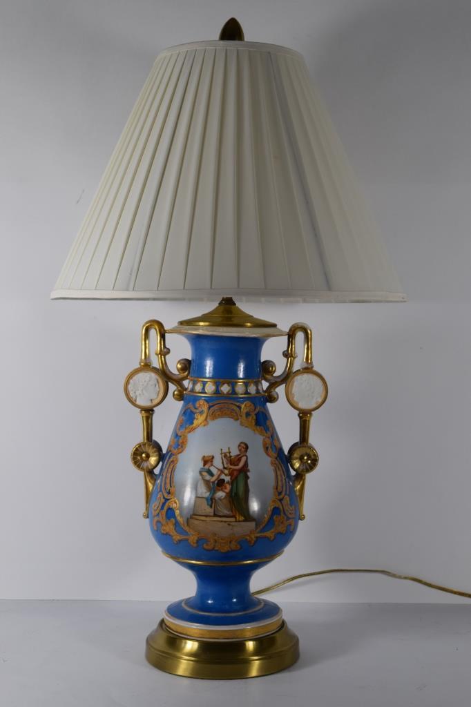 19TH C. OLD PARIS BLUE GOLD PORCELAIN URN LAMP