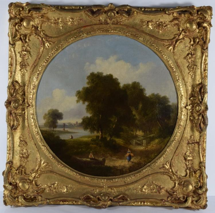 EARLY ANTIQUE RIVER LANDSCAPE OIL PAINTING
