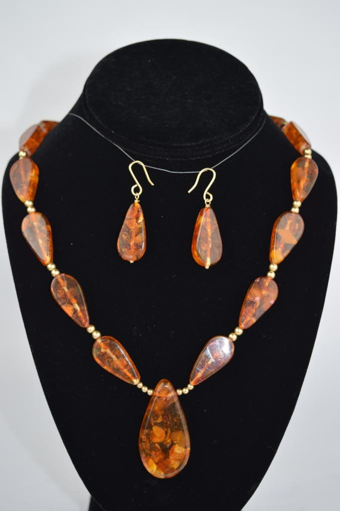 14K GOLD AMBER DROP NECKLACE & EARRINGS SET