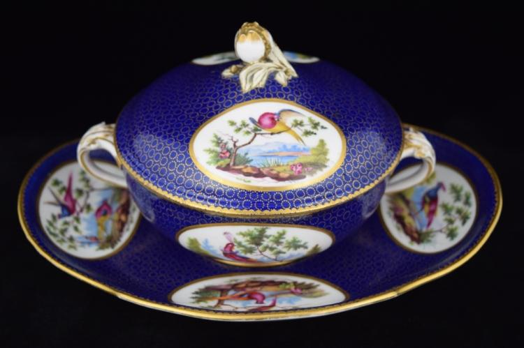 18TH C FRENCH PORCELAIN SEVRES BIRD SOUP TUREEN
