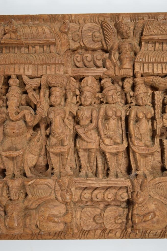 Large carved wooden hindu deities pantheon