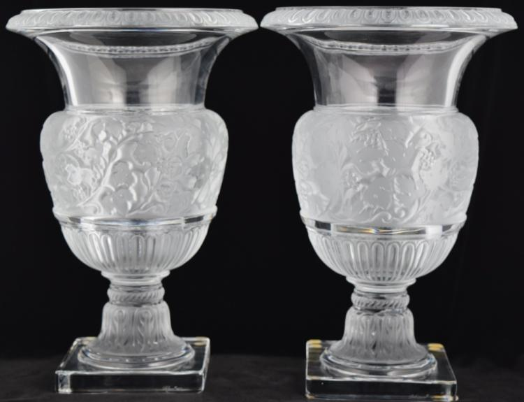 PAIR LG. LALIQUE FRANCE CRYSTAL VERSAILLES VASES