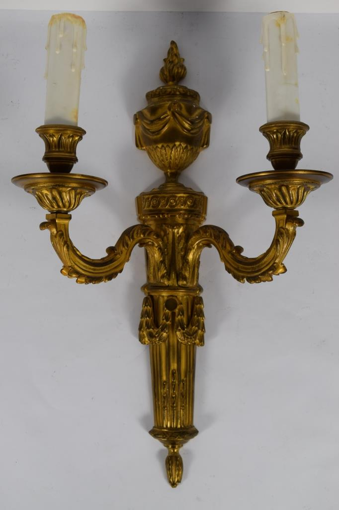 PAIR BRONZE CANDLE WALL SCONCES TURNED LAMPS