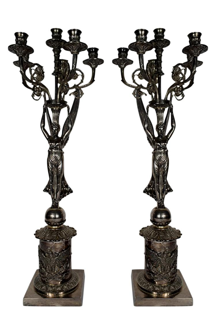 2 ENGLISH SILVERPLATE WINGED CARYATID CANDELABRA