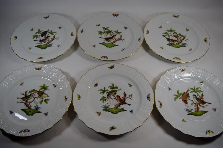 6 HEREND ROTHSCHILD BIRD PORCELAIN DINNER PLATES