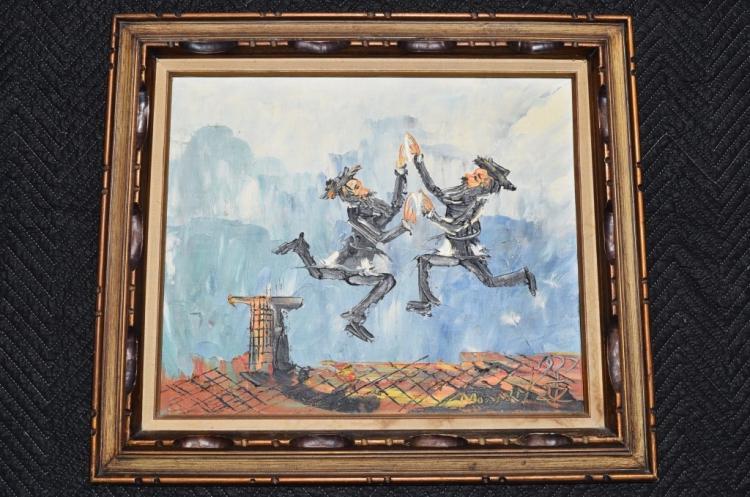 Morris katz 1932 2010 oil on board painting 1977 for Katz fine art