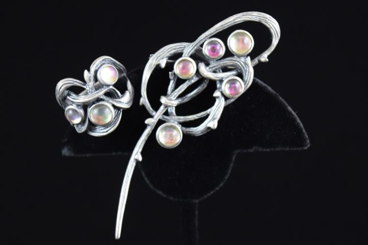 LALIQUE CRYSTAL STERLING SILVER BRAMBLE PIN & RING