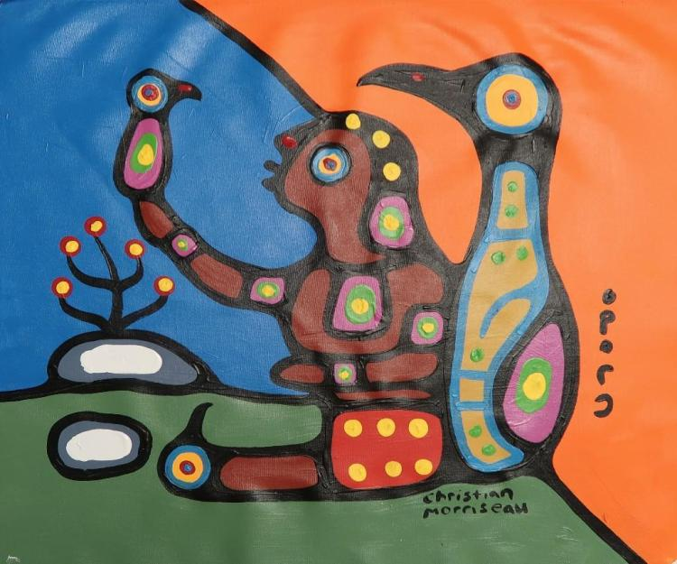 Christian Morrisseau (1969-) 'Bret Morrisseau and Thunderbirds.' Signed in Cree Syllabics and English. Acrylic on Canvas. 19.75 inches by 22.25 inches. The Artist's Studio. Created under the exclusive agreement with Auction Network Management.