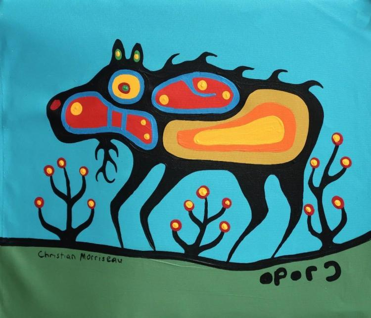 Christian Morrisseau (1969-) 'Young Moose' Signed in Cree Syllabics and English. Signed and Dated in English au verso. Acrylic. (Framed) 15.5