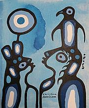 Christian Morrisseau (1969-) 'Rabbit's Promise' Signed in Cree Syllabics and English. Acrylic on Board. 20 inches by 16 inches. The Artist's Studio. Created under the exclusive agreement with Auction Network Management.