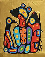 Christian Morrisseau (1969-) 'We Are All One' Signed in Cree Syllabics and English. Signed and Dated. Acrylic on Canvas. (Framed) 28.50 x 22.50