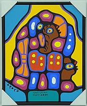 Artist: Christian Morrisseau (1969-) Title: 'Woodland Teachings' Signed in Cree Syllabics and English. Signed in English and dated au verso 2016. Titled au verso. Medium: Acrylic on Canvas. Size: 23