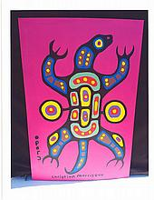 Christian Morrisseau (1969-) 'Shaking the Turtle to Speak to Grandfather' Signed in Cree Syllabics and English. Acrylic on Canvas/Board. (FRAMED) 36 x 24