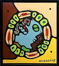 Norval Morrisseau (1932-2007) 'Shaman Confronting Windigo' Signed in Syllabics - Copper Thunderbird. Signed and Dated 1974 verso. Acrylic on Canvas. Size: 24 inches x 26.75 inches. Framed. Estimate: $4000-$5000 C.O.A & Appraisal by D. Paul Bremner CPPA.