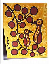 Christian Morrisseau (1969-) 'Woodland Bird and Berries I' Signed in Cree Syllabics and English. Acrylic on Canvas/Board. (FRAMED) 28 inches x 22 inches. The Artist's Studio. Created under the exclusive agreement with Auction Network Management.
