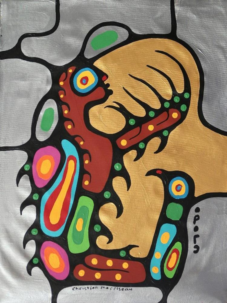 Christian Morrisseau (1969-)'Shaman's Prayer' Signed in Cree Syllabics and English. Signed and Dated. Acrylic on Canvas.(Framed) 27.75 x 22.25