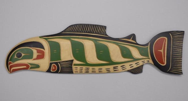 West Coast 'Haida' Indian Art From B.C. 'Original Carving' Cedar Wood 'Salmon' Signed 'Troy Baker' 'Squamish Nation. 28W x 8H Gallery: $975.00 Estimate: $425-$600.00