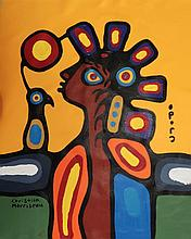 Christian Morrisseau (1969-) Understand Life. Signed in Cree Syllabics and English. Acrylic on Canvas. 23 inches by 18.75 inches. The Artist's Studio. Created under the exclusive agreement with Auction Network Management.