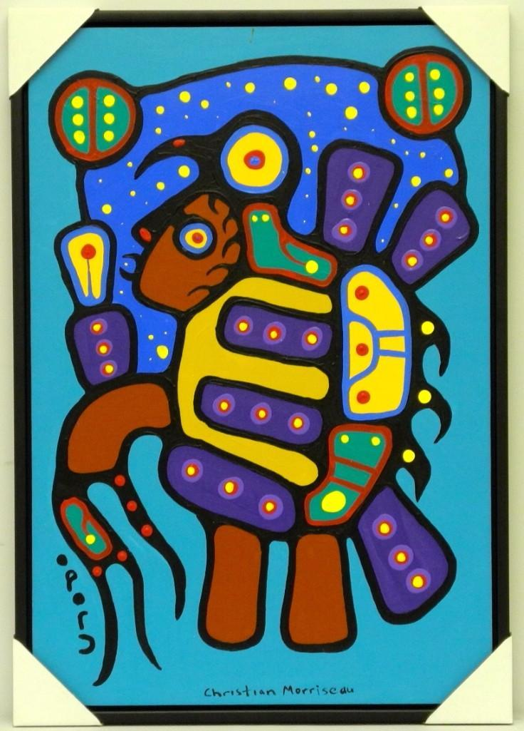 Christian Morrisseau (1969-) Ojibway Thunderbird Entering the Astral Plane. Signed in Cree Syllabics and English. Signed and Date in English au verso. Acrylic. 34.5