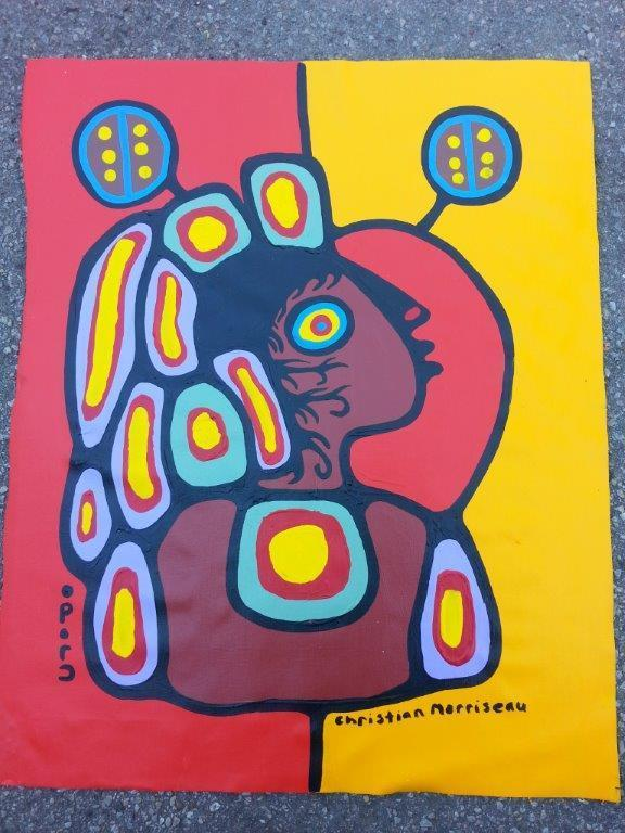 Artist: Christian Morrisseau (1969-) Title: 'Shamans Granddaughter kylie and Kaylie' Signed in Cree Syllabics and English. Signed in English and dated au verso. Titled au verso. Medium: Acrylic on Canvas. Size: 32