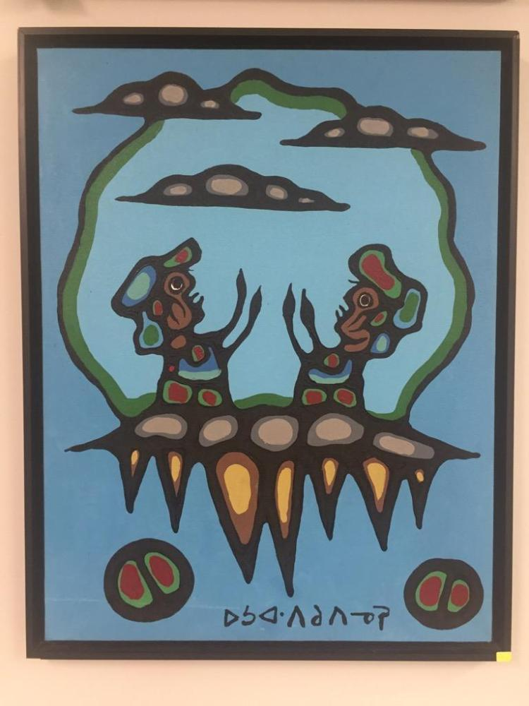 Artist: Norval Morrisseau (1932-2007) - Titled: 'Offering to Inorganics' Signed in Syllabics - Copper Thunderbird. Signed and Dated 1976 Verso. Medium: Acrylic on Canvas. Size: 29.75 inches x 22.75 inches. Framed.