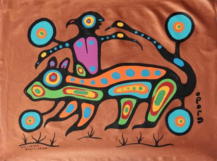 Christian Morrisseau (1969-) 'Ojibway Boy and Otter' Signed in Cree Syllabics and English. Signed and Dated. Acrylic on Canvas. (Framed) 22x28.50