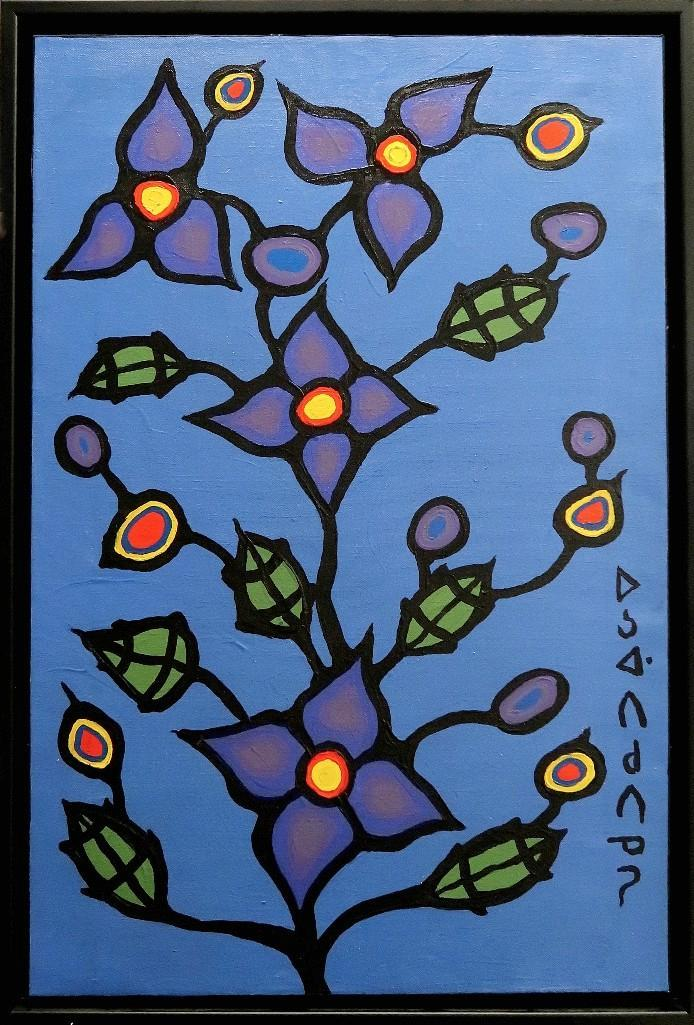 Norval Morrisseau (1932-2007) 'Flower Direction' Signed in Cree Syllabics Copper Thunderhead. Acrylic on Canvas. 33.5 inches by 22 inches. Private Collection, Thunder Bay, Ontario Mr. Jim White, Egbert, Ontario.