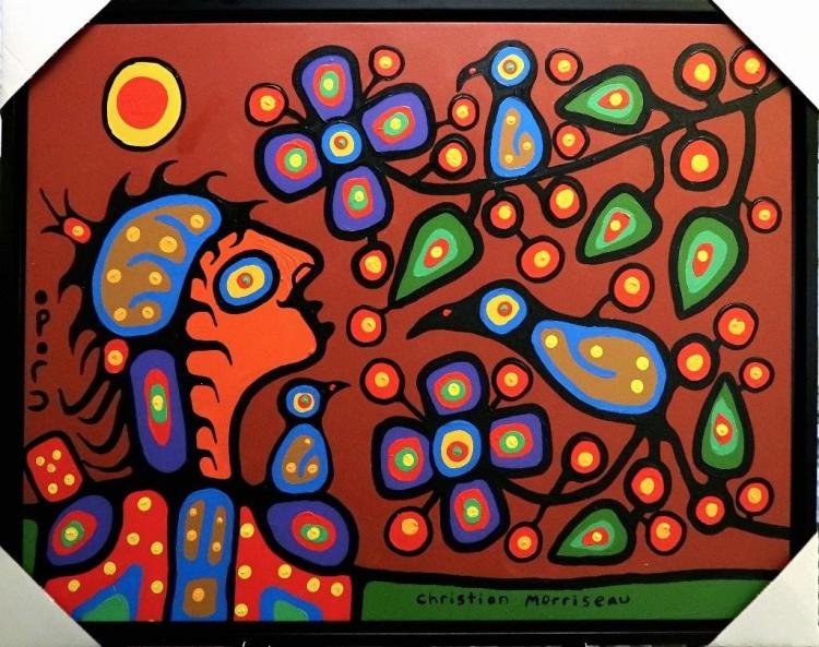 Christian Morrisseau (1969-) Gathering Flowers for the Shaman, 2015. Signed in Cree Syllabics. Acrylic in canvas. 33.5 inches by 42.5 inches. Hand Signed. Appraisal Report: D. Paul Bremner.