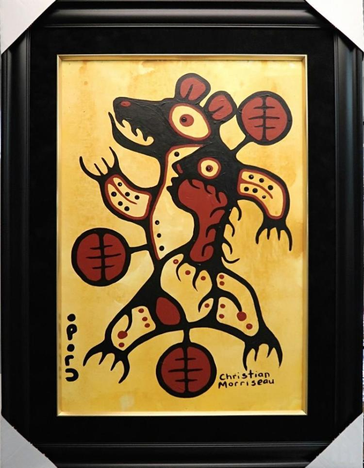 Christian Morrisseau (1969-) 'Woodland Bear Dancer' Signed in Cree Syllabics and English. Acrylic on Canvas/Board (Framed) 36