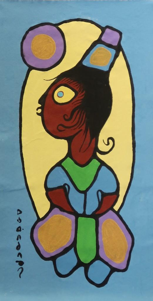 Norval Morrisseau (1932-2007) Untitled (grandchild, an elder's pride and honour) Signed in Cree Syllabics Copper Thunderbird. Signed and Dated in English au verso 1988. Acrylic on Canvas. 33 inches by 15 inches.