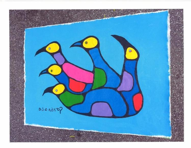 Artist: Norval Morrisseau (1932-2007) Title: 'Thunderbird Unity' Signed in Cree Syllabics Copper Thunderhead. Signed, Titled and dated in English au verso 1988. Medium: Acrylic on Canvas. Size: 36 x 48