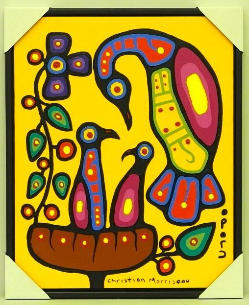 Christian Morrisseau (1969-) 'Mother and Young' Signed in Cree Syllabics and English. Signed and Dated in English au verso. Acrylic. (Framed) 26.5