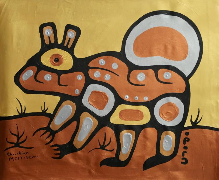 Christian Morrisseau (1969-) 'Parkland Bear' Signed in Cree Syllabics and English. Signed and Dated. Acrylic on Canvas. (Framed) 22.25 x 29