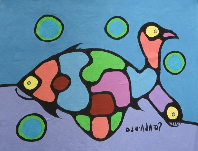 Norval Morrisseau (1932-2007) Untitled (animal world, both spiritually and physically) Signed in Cree Syllabics Copper Thunderbird. Acrylic on Canvas. 25 inches by 33 inches. Private Collection, St. Thomas, Ontario. Appraisal Report: D. Paul Bremner.