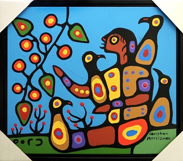 Christian Morrisseau (1969-) 'Gathering Cherries for The Shaman-I' Signed in Cree Syllabics. Acrylic on Canvas. (Framed) 30