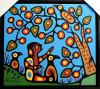 Christian Morrisseau (1969-): 'Gathering Cherries for The Shaman-II' Symbols Beside Signature: Thunderbird-artist in spirit. Figure- artist as mortal. Acrylic on Canvas. (Framed) 30