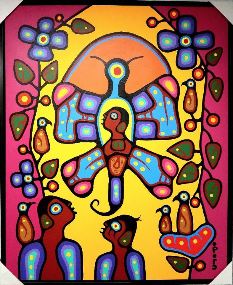 Artist: Christian Morrisseau (1969-) Title: 'Heavenly Gifts' Signed in Cree Syllabics. Titled in English and Dated 2013, AU VERSO. Medium: Acrylic on Canvas. Size: 60 inches x 58.5 inches. Appraised $10,700.00 Framed.