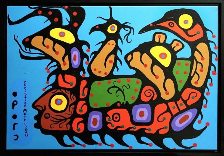 Christian Morrisseau (1969-) 'Woodland Artist' Signed in Cree Syllabics and English. Acrylic on Canvas/Board (Framed). Artist's Studio. Created under the exclusive agreement with Auction Network Management.