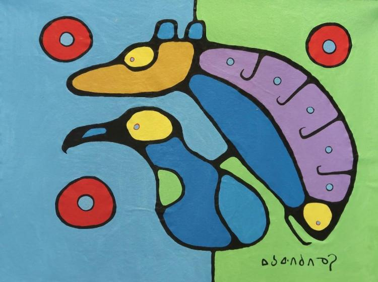 Norval Morrisseau (1932-2007) 'Untitled' (Animals in Both Worlds) Signed in Cree Syllabics Copper Thunderbird. Signed and dated in English. Acrylic on Canvas. 35