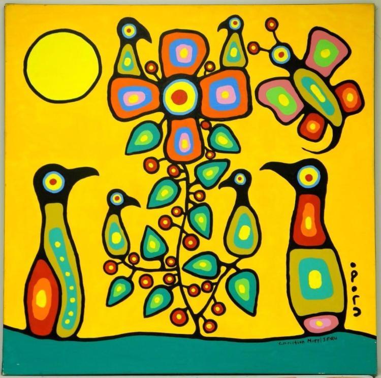 Artist: Christian Morrisseau (1969-) Title: 'Ojibwa Cree Flower Tree' Signed in Cree Syllabics and English. Signed in English and dated au verso 2010. Titled au verso. Medium: Acrylic on Canvas. Size: 56