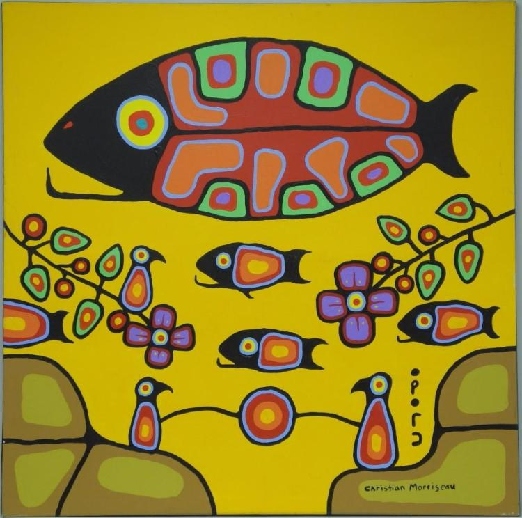 Artist: Christian Morrisseau (1969-) Title: 'Beauty Flows' Signed in Cree Syllabics and English. Signed in English and dated au verso 2010. Titled au verso. Medium: Acrylic on Canvas. Size: 56