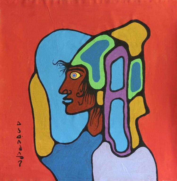 Norval Morrisseau (1932-2007) Untitled (Shaman-Vision) Signed in Cree Syllabics Copper Thunderbird. Signed and Dated in English. Acrylic on Canvas. 33 inches by 30.5 inches. Private Collection, St. Thomas, Ontario. Appraisal Report: D. Paul Bremner.