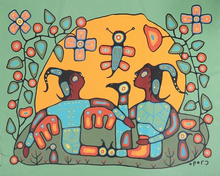 Christian Morrisseau (1969-) Ojibway Brothers of the Sun, 2012' Signed in Cree Syllabics. Acrylic in canvas. 92 inches by 116 inches. The Private Collection of Mr. James White.
