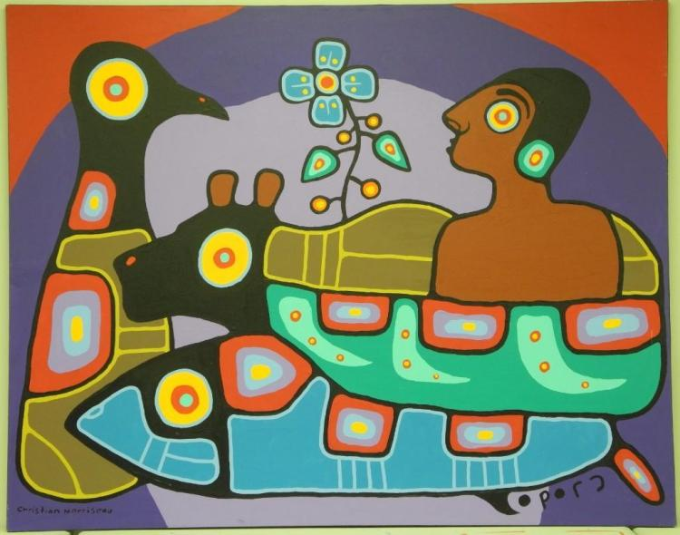 Artist: Christian Morrisseau (1969-) Title: 'Woodland Spirits' Signed in Cree Syllabics and English. Signed in English and dated au verso 2010. Titled au verso. Medium: Acrylic on Canvas. Size: 57